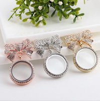 asian glasses frames - Top Grade Bow Floating Locket Transparent Glass Frames Floating Charms Memory Lockets Pendants Brooches Pins DIY Jewelry KLF