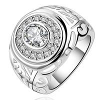 big custom jewelry - Custom Jewelry Silver High Polished Inner Side Mid Finger Rings Big Rhinestone Ring R110639