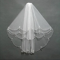 2015 Hot Sale Fabuloso reais imagens de alta qualidade Bridal Veils Branco / Marfim camadas tules com Noble frisados Pedras Borda Elbow Comprimento 60 centímetros-80cm