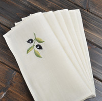 beige linen napkins - Homelinen high quality olive aesthetic embroidered slubbed fabric western beige towel Table Napkin cloth