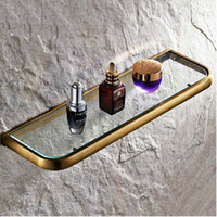 Wholesale And Retail Modern Antique Brass Bathroom Glass Shelf Shower Caddy Cosmetic Storage Holder