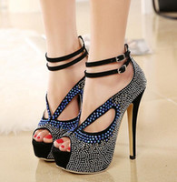 studded shoes - Roman Style Ankle Strap Crystal Studded Glitter Shoes Sandals For Women Heels Ballroom Dance Shoes Party wedding Prom Gown size to