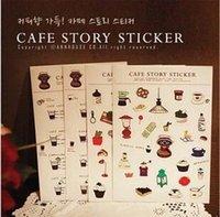 Wholesale Free ship set pc Cafe Story diary Deco sticker PVC cartoon decorative stickers pc into order lt no tracking