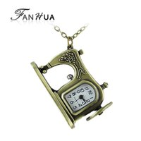 acrylic carving machine - Latest fashion antique alloy carved sewing machines pendant pocket watch for gifts