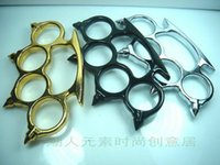 belt buckles personal - 2PCS Gold Thin Steel Brass knuckle dusters Self Defense Personal Security Women s and Men s self defense Decorative belt buckle