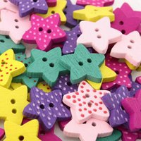 Cheap 200pcs Pretty Wood Candy Color Star Shape Buttons Scrapbooking 2 Holes Mixed 111687-200