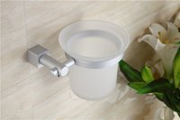 Wholesale sets square base high quality durable never rust aluminum toilet brush holder wall mouted bathroom cleaning tool
