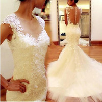 Wholesale 2015 Modern Mermaid Wedding Dresses Cap Sleeve Sheer Neck Jewel Lace Tulle Sweep Train Long Ivory Bridal Gowns Custom Made W818
