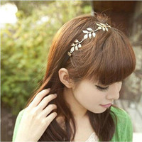 Wholesale Gold Olive Leaves Leaf Stretchy Hair Head Band Grecian Style Trendy Trending Hot Sale