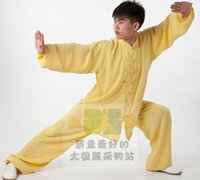 Wholesale Xin Tai chi clothing fitness best martial arts clothing and high grade cotton yellow men and women old Kung Fu clothing