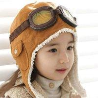 Wholesale NEW wool retail children hats boys flight caps kids winter hats earflap Cap Beanie Pilot C126