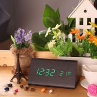 Wholesale Electronic Desktop Digital LED Alarm Wood Wooden Clock with Temperature Voice Sound Activated USB DC6V Calendar Despertador