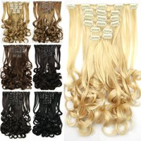 Wholesale 135g set Clip in Hair Extensions Curly flip in hair extensions synthetic tails