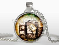 arts gift tags - Vintage Glass Cabochon pendant necklace luggage tag necklace art Photo necklace for women Jewelry gift FTCN276