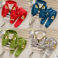 pocket pc - Boys Tracking Suits Spring Autumn Little Monster Cartoon Hooded Jackets T Shirts Pocket Trousers Sets Baby Cotton Clothes