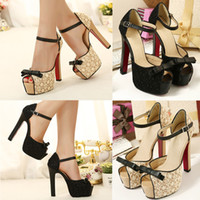 black heel bow - Fashion Women sapatos femininos Sandals Lace Bow Peep Toe High Heel Ankle Strap Platform Sole Pumps Shoes Beige Black SW039