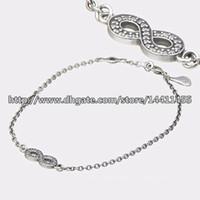 al por mayor encantos símbolo de infinito-100% 925 Símbolo de plata del infinito pulsera con Clear CZ encantos de los ajustes y los granos de la joyería de Pandora Style