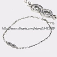 Wholesale 100 Sterling Silver Symbol of Infinity Bracelet with Clear Cz Fits Pandora Style Jewelry Charms and Beads