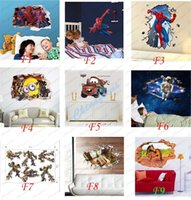action stills - 60 D Removable Wall Stickers Cartoon Movies Figures Action Figures Spiderman Dinosaur Wallpaper for Bedroom Livingroom Kids Nusery Room