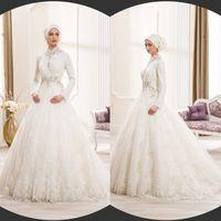 Wholesale Saudi Arabia Muslim Wedding Dresses Lace Long Sleeve Beads High Neck Wedding Dress Bridal Gowns Floor Length Appliques Custom Made