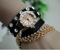 Compra Relojes hawaiano-Relojes De Moda Para Mujeres Moda Estilo Hawaiano Casual Reloj Rhinestone De Cuero De Cuero Largo Cadena Señoras Relojes De Cuarzo