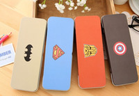 Wholesale Kawaii CM Iron BOX of Justice League Heroes School Kids Pen Pencil Box BAG Case GIFT BAG Superman Captain America Etc
