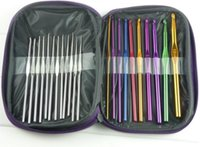 Wholesale Multi color crochet hooks stainless knitting needle tool set for sweater or glove Knitted kits with pu bag NEEDLE