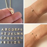 Bracelet à lettres A à Z Bracelet à chaîne en or plaqué or Bangle Mode Femmes Bijoux Cadeau # 2099