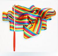 Wholesale Dance Ribbon Crossfit Gym Rhythmic Gymnastics Art Gymnastic Ballet Streamer Twirling Rod