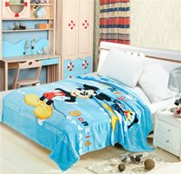 Wholesale Children Cartoon Coral Fleece Blanket for Spirng Autumn Baby Mickey Mouse Patterns Bedding Blanket cm Soft Bed Sheet