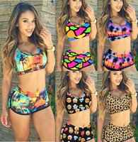 arrival sports beach - New arrival Sport Bodycon Bikini Set Colorful Print Shinny Summer Style Beach Wear Bandage Plus size Bra Bathing Suit
