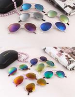 al por mayor gafas de sol de cumpleaños-Niños Niños Niños Aviador Sunglass Baby UV400 Metal Frame Sunglass Beach Sunblock Suministros Regalos de cumpleaños ZJ16-G03