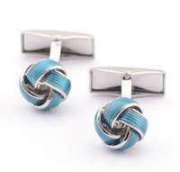 Wholesale Good Quality Blue Copper Knot Cufflinks for men Fashion Sleeve Button for gentlemen