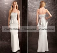 Cheap Sexy Strapless Silver Formal Evening Prom Dresses Peplum Slim Simple Bridesmaid Party Gowns 2015 Custom Made Summer Free Shipping Cheap