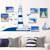 animal tower wall sticker - Removable Wall Sticker Blue Sailing Boat Tower Photo Art Decals Mural DIY Wallpaper for Room Decal cm dandys