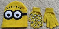 garden gloves - kids beanie Despicable Me Minions beanies Knit Caps And Gloves New Cartoon Winter Knitted Kids Girls Boys Hats Gloves Children