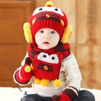 Wholesale 2015 Car Baby Boys Girls Kids Winter Warm Hats Scarf set Beanie Caps Mittens For Xmas a2