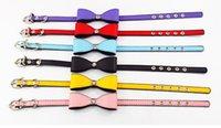 Wholesale NEW Cat Supplies Rhinestone PU Bow Collar pet collar Cat Collars Pet Supplies Dog Collar colors