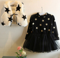 fleece clothing - Girls Star Fleece Warm Sets Children Clothing Pattern Vest Jacket Long Sleeve Dress Outfits Kids Clothes Tank Coat Dresses Suit D6070