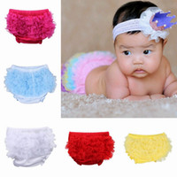Wholesale Lovely Baby Infant Cotton PP Pettiskirt Pants Toddler Lace Bloomers Ruffle Briefs Colors Choose ELT