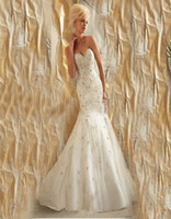 beads embroidery on clothes - Custom Made New Elaborately Beaded Embroidery on Net Mermaid Designer Style ML060 Sweetheart Sleeveless Wedding Dresses Bride Clothing