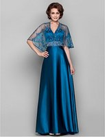 Cheap 2015 Attractive Ink Blue Lace Bolero A-Line V-neck Beading and Stretch Satin Wedding Party Mother Of The Bride Dresses