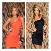 Wholesale Sexy Dresses For Women Black Orange One Shoulder Floral Lace Club Dress Plus Size Stretch Fabric Soft Lining CB9481