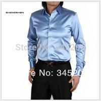 Cheap Wholesale-Mens Business Formal Shirts Casual Brand Long Sleeved Shirt Men Silk Summer Shirt Men Big Size S-3XL T014