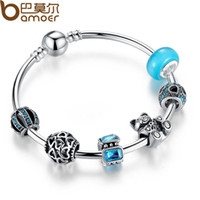 bear with heart - 925 Silver Charm Bangle with Bear Animal Open Your Heart Charm Bracelet Blue Glass Ball Friendship Bracelet GA3069