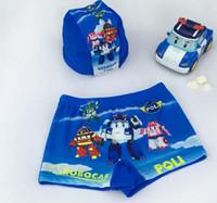 Wholesale Swimming Pants For Children - Kids cartoon Swimwear Robocar Poli swim suit two-piece set for 3Y~9Y boy trunks pants + cap children summer beach The Avengers clothing blue
