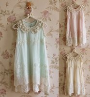 Wholesale Kid Girl Summer Party Sundress Lace Pearl Collar Sleeveless Princess Dress Children Clothing