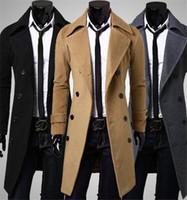 Men s woolen coat Preços-2016 O revestimento de lã dos homens longos do outono dos homens novos do outono do tipo abaixa o revestimento de trincheira dobro dos homens de Breasted do colar