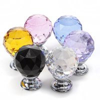 Cheap 5pcs 30mm Crystal Glass Door Knob Drawer Pull Cabinet Kitchen Handle Wardrobe Free Shipping