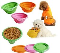 Wholesale New Style Pet Dog portable bowl Silicone Collapsible Feeding Water Feeder Travel Bowl Dish color available